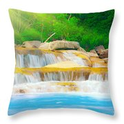 Beautiful Cascade Fall In Tropical Forest Throw Pillow