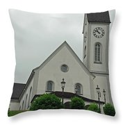 Beautiful Church In The Swiss City Of Lucerne Throw Pillow by Ashish Agarwal