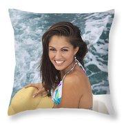 Beautiful Girl Boating Throw Pillow