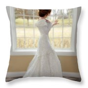 Beautiful Lady By Window Throw Pillow
