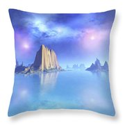 Beautiful Night Scene Of The Ocean Throw Pillow