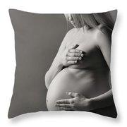 Beautiful Nude Pregnant Woman Throw Pillow