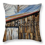Beautiful Old Barn With Horns Throw Pillow