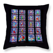 Beautiful Stained Glass At Notre Dame Cathedral Throw Pillow