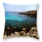 Beautiful View On Mediterranean Sea Cape Gkreko In Cyprus Throw Pillow