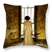 Beautiful Woman In Lace Gown In Abandoned Room Throw Pillow