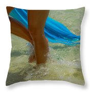 Beautiful Woman Legs In The Crystal Water Throw Pillow