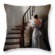 Beautiful Young Woman Standing In Gown By Stairs Throw Pillow