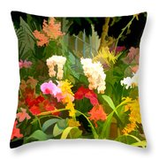 Bed Of Orchids Throw Pillow