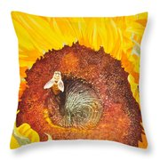 Bee And Sunflowers Throw Pillow