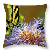 Bee And The Butterfly Throw Pillow