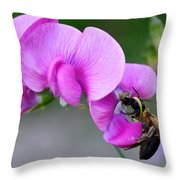 Bee In The Pink - Greeting Card Throw Pillow