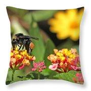 Bee On Lantana Flower Throw Pillow