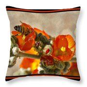 Bee On Red Flower 4 Throw Pillow