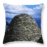 Beehive Huts At The Coast, Skellig Throw Pillow by The Irish Image Collection