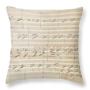 Beethoven Manuscript, 1806 Throw Pillow by Granger