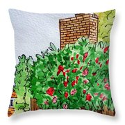 Behind The Fence Sketchbook Project Down My Street Throw Pillow by Irina Sztukowski