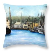 Belford Fishing Seaport Nj Throw Pillow