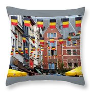 Belgian Flags In Brussels Throw Pillow by Carol Groenen