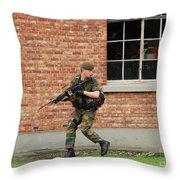 Belgian Infantrists Under Attack Throw Pillow by Luc De Jaeger