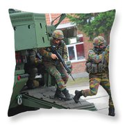 Belgian Infantry Soldiers Exit Throw Pillow