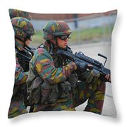 Belgian Infantry Soldiers In Training Throw Pillow by Luc De Jaeger