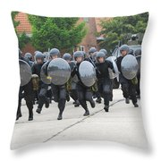 Belgian Infantry Soldiers Training Throw Pillow by Luc De Jaeger