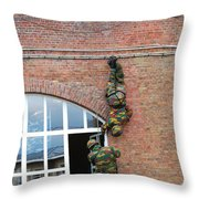 Belgian Paratroopers Rappelling Throw Pillow by Luc De Jaeger