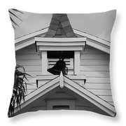 Bell Tower In Black And White Throw Pillow
