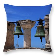 Bells Of Santorini Greece Throw Pillow