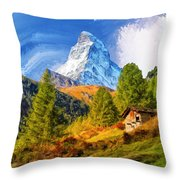 Below The Matterhorn Throw Pillow