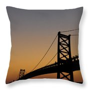 Ben Franklin Bridge Sunrise Throw Pillow