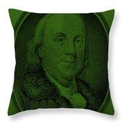 Ben Franklin In Dark Green Throw Pillow