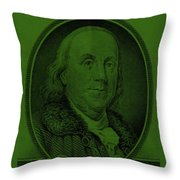 Ben Franklin In Dark Green Throw Pillow