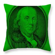 Ben Franklin In Green Throw Pillow