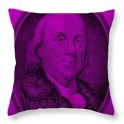 Ben Franklin In Purple Throw Pillow