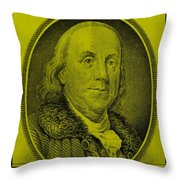 Ben Franklin In Yellow Throw Pillow