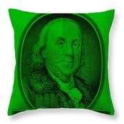 Ben Franklin Ingreen Throw Pillow
