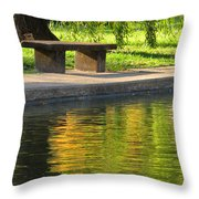 Bench And Reflections In Tower Grove Park Throw Pillow