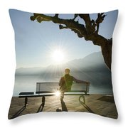 Bench And Sunset Throw Pillow