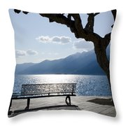 Bench And Tree On An Alpine Lake Throw Pillow