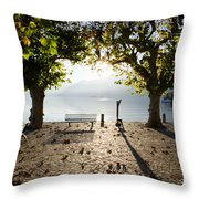 Bench And Trees On The Lake Front Throw Pillow