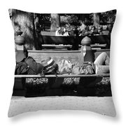 Bench Bums In Black And White Throw Pillow