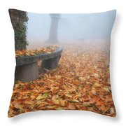 Bench In The Fog Throw Pillow