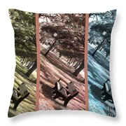 Bench In The Park Triptych  Throw Pillow