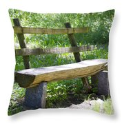 Bench Made Of Wood Throw Pillow