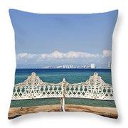 Bench On Malecon In Puerto Vallarta Throw Pillow