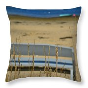 Bench On The Beach Throw Pillow