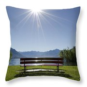 Bench On The Lakefront Throw Pillow