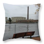 Bench With Industrial View Throw Pillow